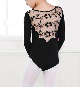 Back of girl wearing black lace back leotard long sleeve