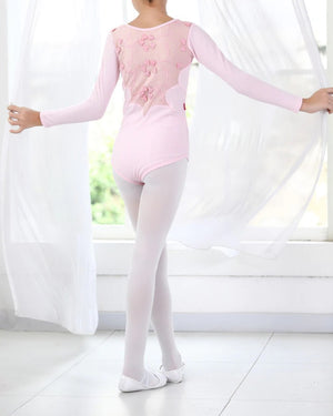 front of girl wearing pink lace back leotard long sleeve