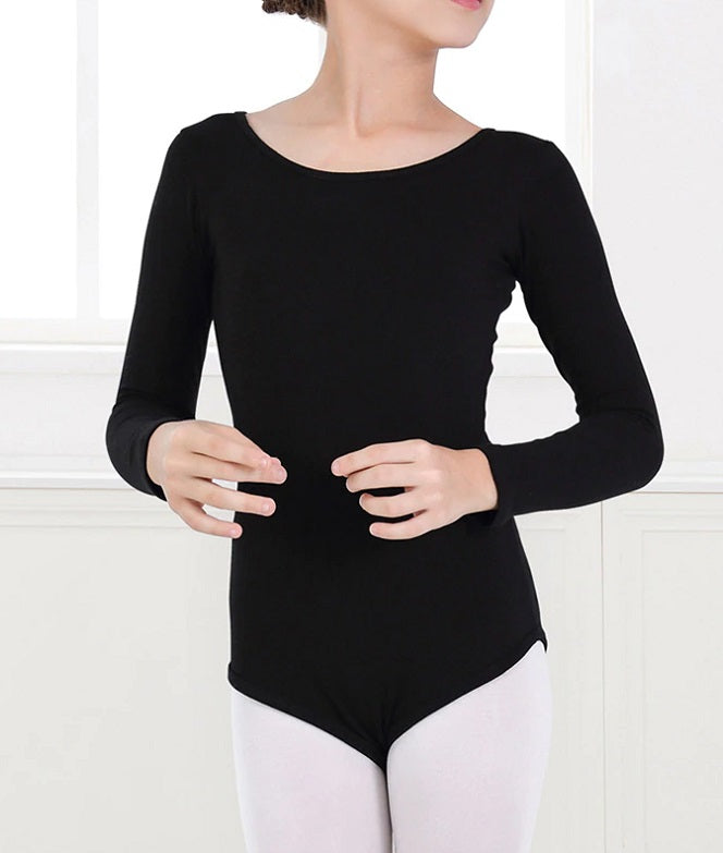 front of girl wearing black lace back leotard long sleeve