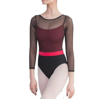 Front of Black mesh 3/4 sleeve leotard with underlying hot pink camisole.