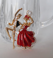 front of ballet character dance brooch pin hijab red and gold