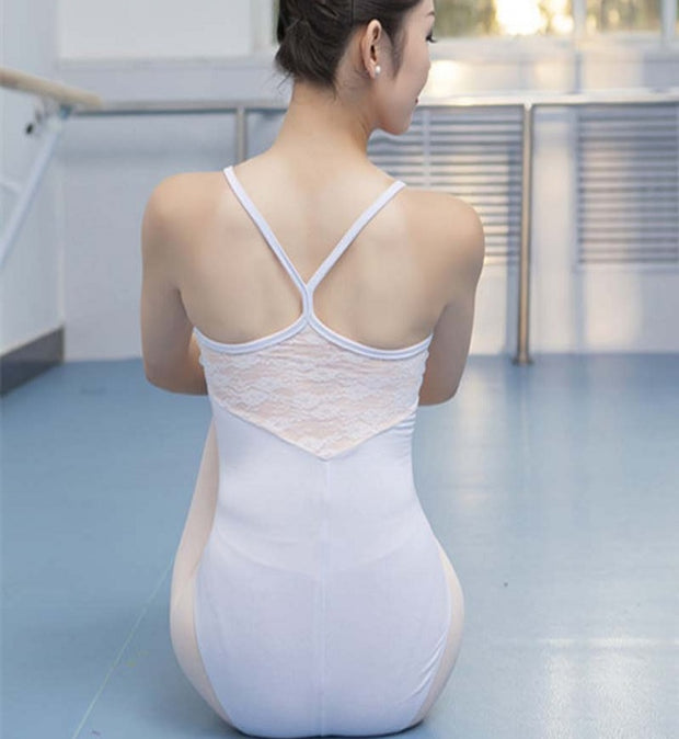 back of white lace camisole leotard