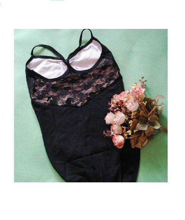 back of black lace camisole leotard