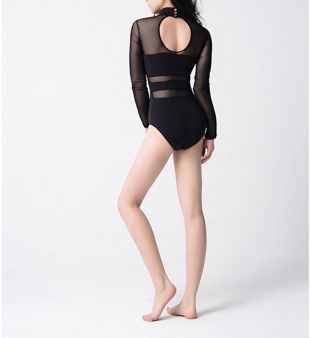 back of black mesh long sleeve leotard with keyhole back