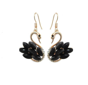 faux opal black swan drop earrings