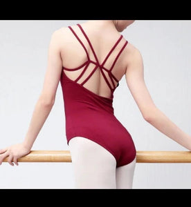back of women wearing v-neck camisole leotard with double strap ballet jazz