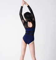 back of navy colored long sleeve mesh leotard with navy back