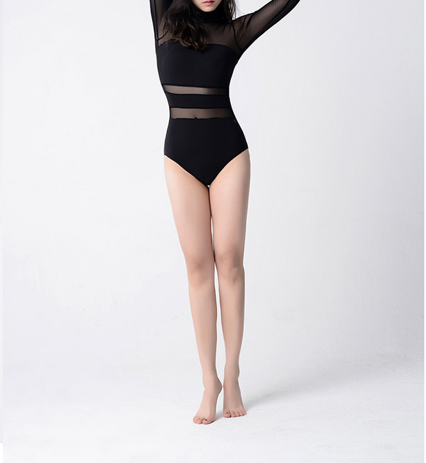 front of black mesh long sleeve leotard with high neck