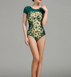 green and gold short sleeved bodysuit