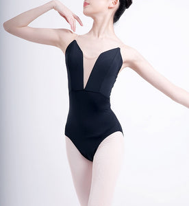 front of black camisole leotard with nude insert
