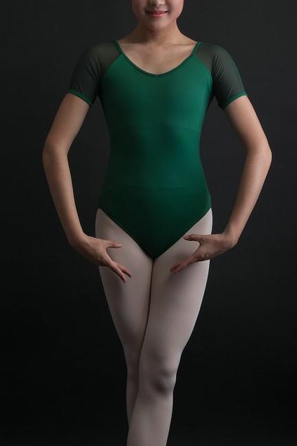 front of woman wearing green mesh short sleeve leotard