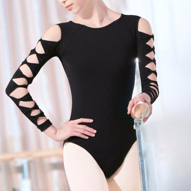 Trendy black leotard with decorative sleeve
