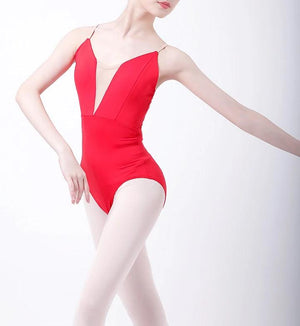 front of red camisole leotard with v style insert