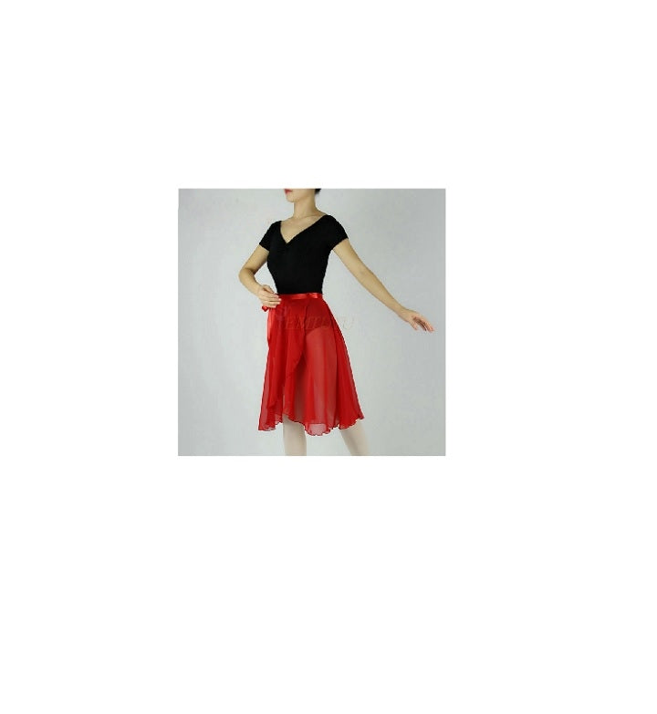 front of red ballet wrap skirt