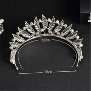 Back of feather, pearl and rhinestone wedding tiara