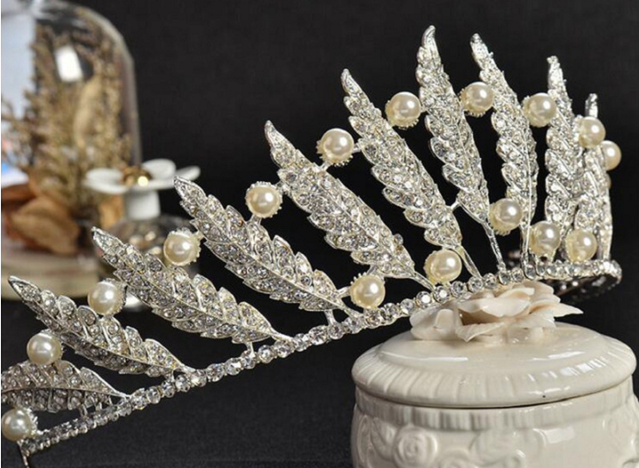 feather rhinestone and pearl tiara for ballet or wedding
