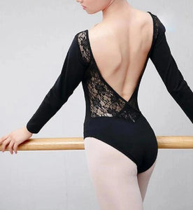 back of black long sleeve lace leotard