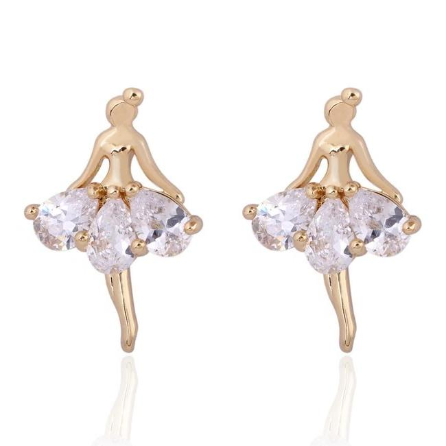 clear crystal ballerina earrings