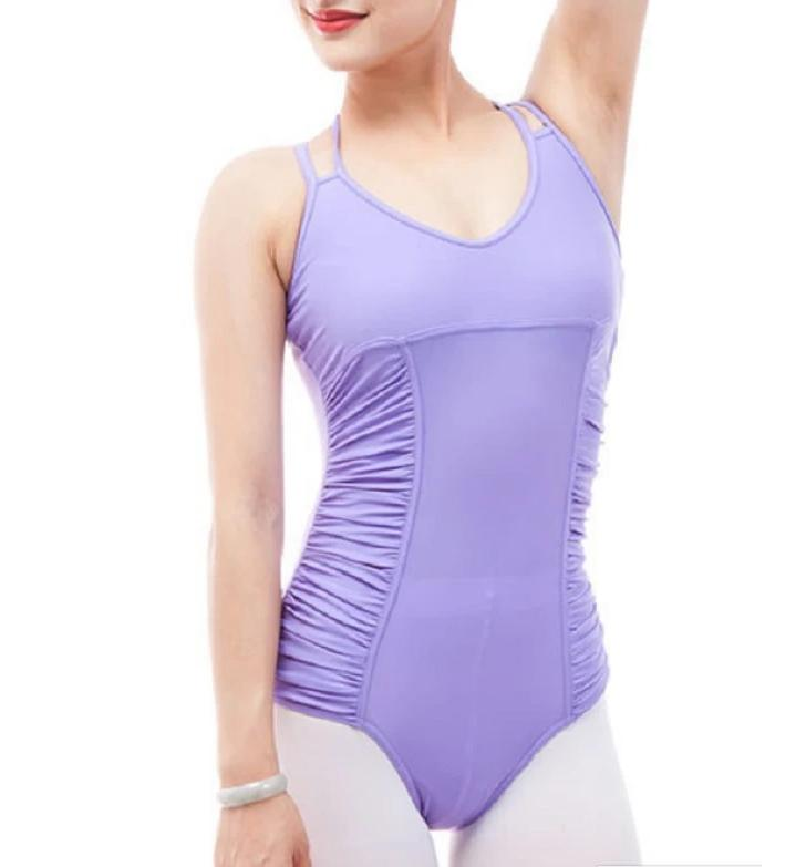 Front of shirred side lavender double strapped camisole leotard ballet jazz