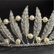 feather, pearl and rhinestone wedding tiara