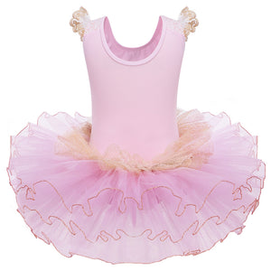 girls pink tulle and lace tutu dress