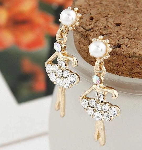 front of crystal ballerina earrings
