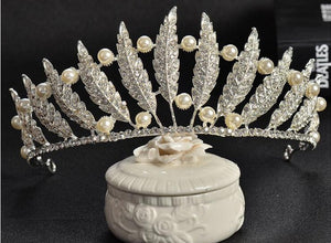 feather, pearl and rhinestone tiara