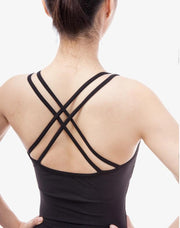Back of black shirred side double strapped camisole leotard ballet jazz