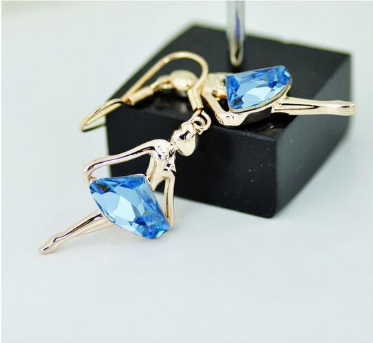 Blue Crystal Ballerina Necklace and earring set silver and gold tone