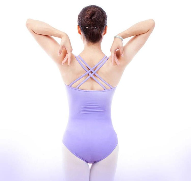 back of lavender shirred side double strapped camisole leotard ballet jazz
