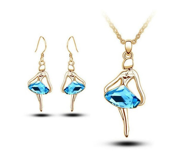 Blue crystal ballerina necklace and earring set gold tone