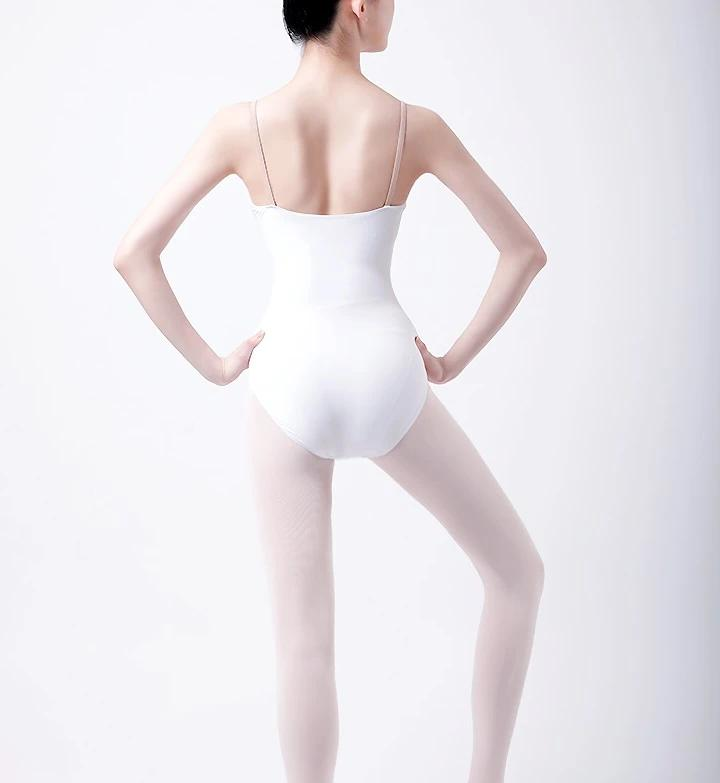 back of white camisole leotard with v style insert