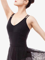 front of black shirred side double strapped camisole leotard ballet jazz