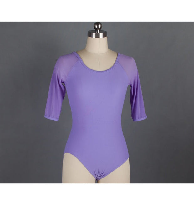 Front of lilac mesh ballet leotard with 3/4 sleeves.