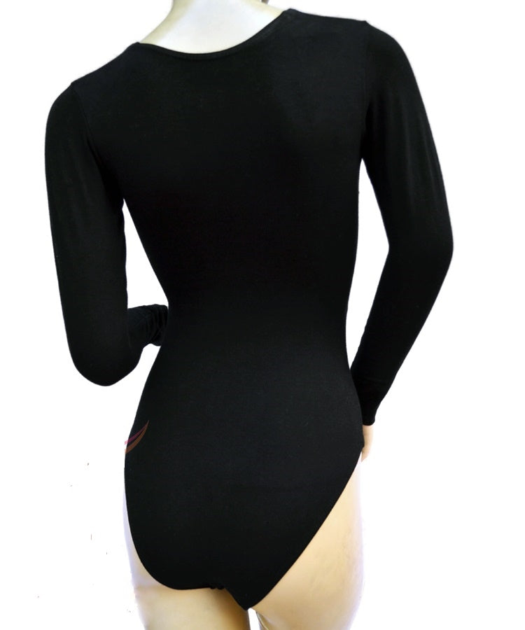 back of long sleeve wrap leotard for women