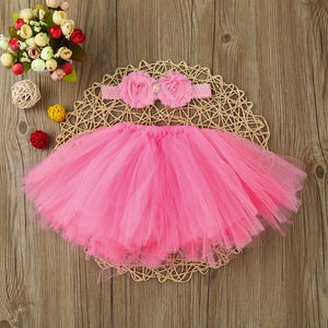 pink tutu for baby with matching headband