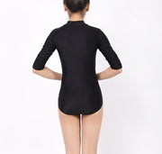 back of black zipper front leotard