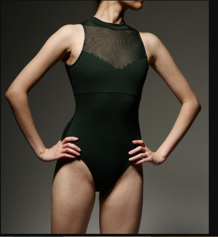 front of woman wearing sheer front ballet leotard