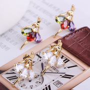 multi colored cubic zirconia  ballerina earrings