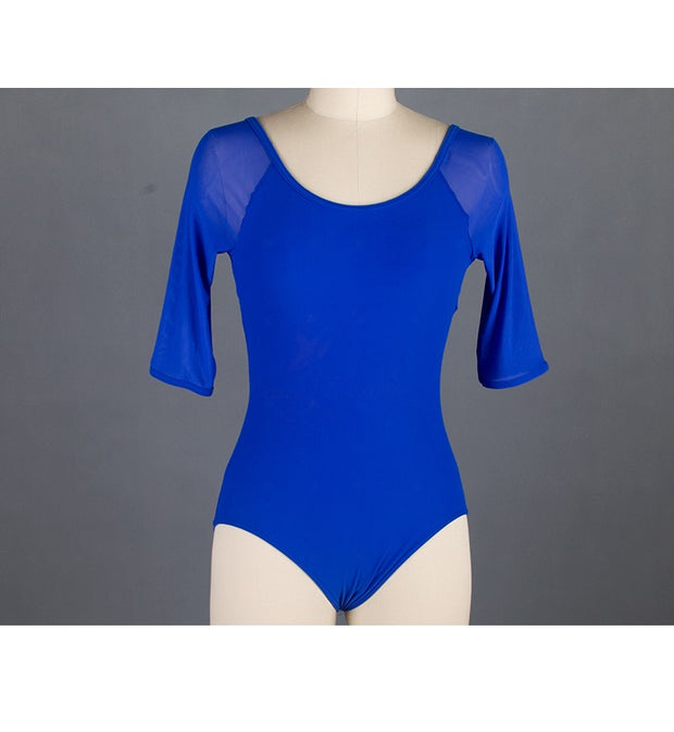 Front of royal blue mesh ballet leotard with 3/4 sleeves.