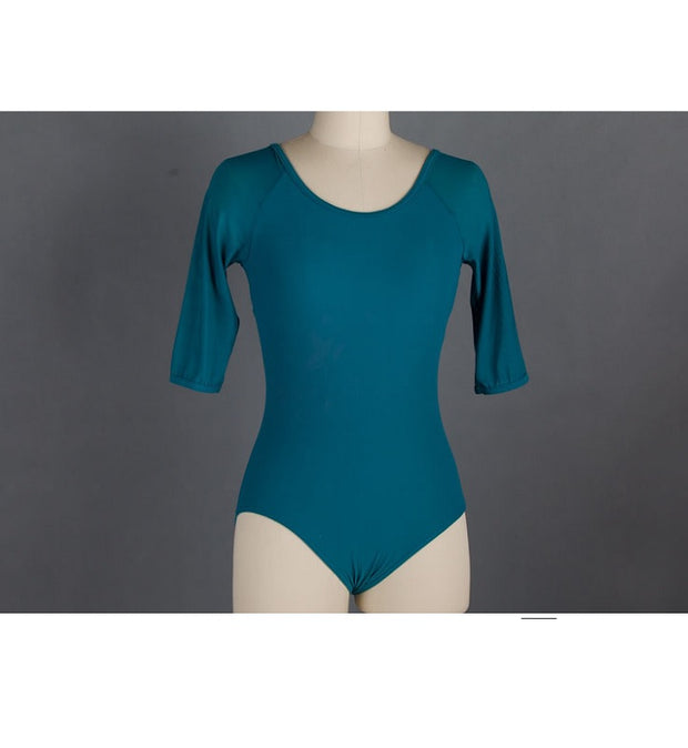 Front of teal mesh ballet leotard with 3/4 sleeves.