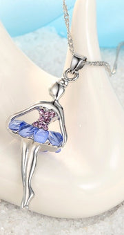 Blue crystal ballerina necklace