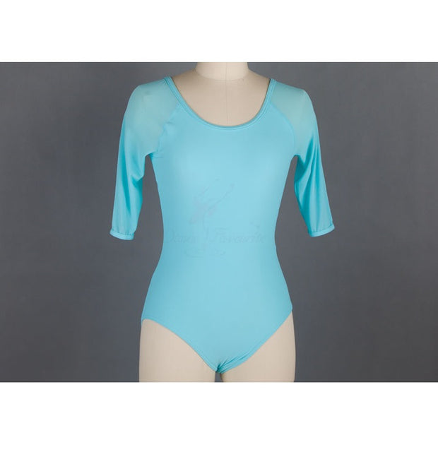 Front of sky blue mesh ballet leotard with 3/4 sleeves.