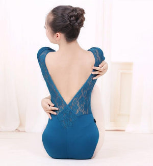 back of  teal blue lace back leotard