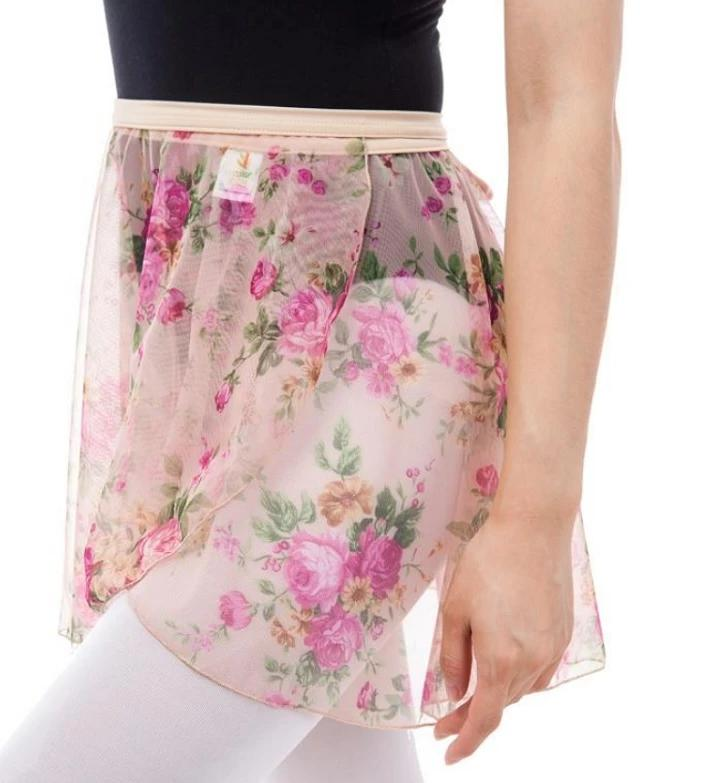 woman wearing pink floral polyester chiffon wrap skirt