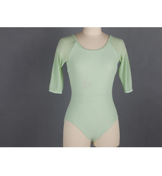 Front of mint mesh ballet leotard with 3/4 sleeves.