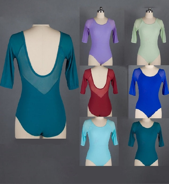 Back of mesh ballet/dance leotards in multiple colors