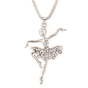front of crystal ballerina pendant necklace