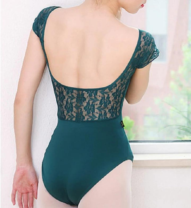 Back of green lace cap sleeve leotard dance ballet