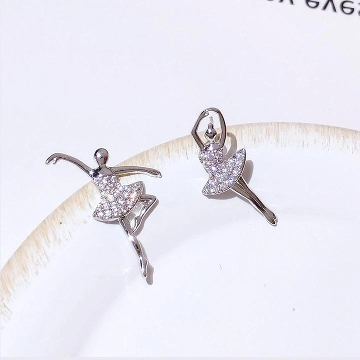 front of stud crystal ballerina earrings